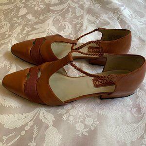 Vintage Topazio Foxglove Brown Leather Flats Sz 9M